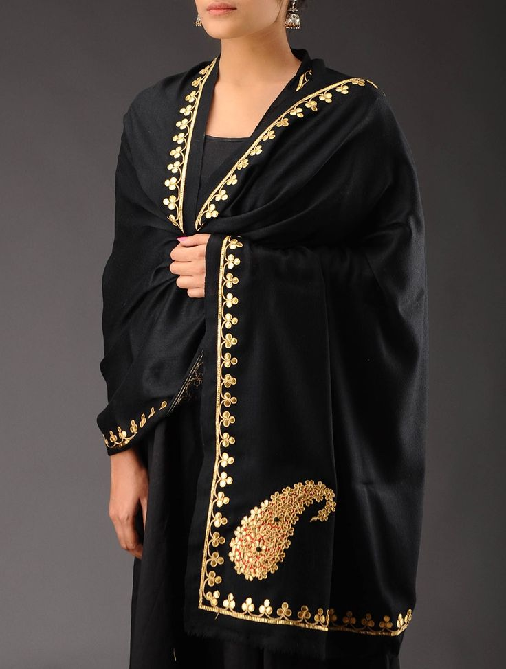 Black - Golden Zari Paisley & Gota Border Cashmere Wool Shawl - Buy Accessories > Shawls > Black - Golden Zari Paisley & Gota Border Cashmere Wool Shawl Online at Jaypore.com or visit www.richadesigns.in