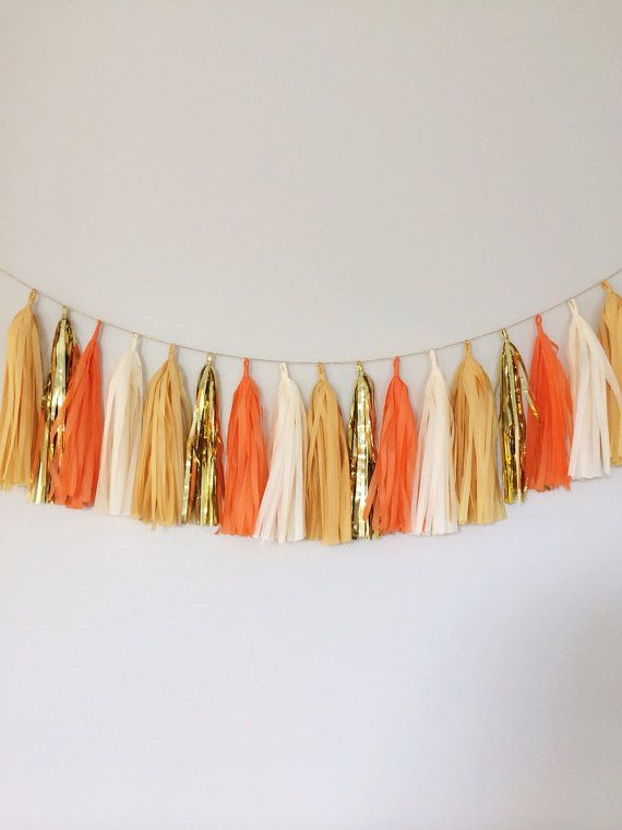Ivory Orange Buttercup and Gold Tassel Garland Banner- Party Decor, Birthday Party, Weddings, Fall Theme, Thanksgiving , & Photo Props