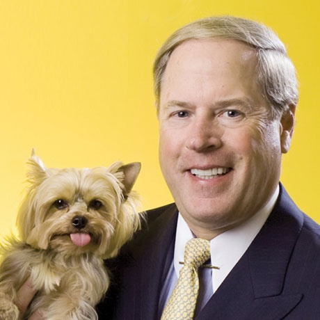"""Vernon W. Hill II, """"Chairman NOW!"""" (AKA Petplan pet insurance Chairman) with Duffy the Yorkshire Terrier"""