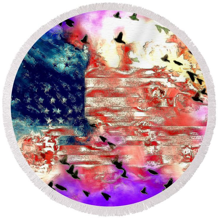Flag Round Beach Towel featuring the painting American Flag by Daniel Janda