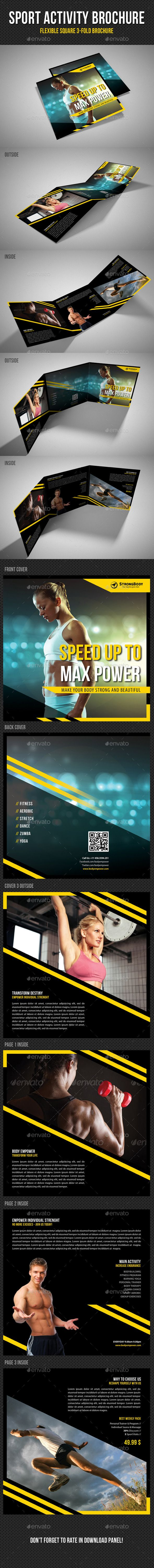 Sport Activity Square 3Fold Brochure V04 — Photoshop PSD #spa #brand • Available here → https://graphicriver.net/item/sport-activity-square-3fold-brochure-v04/11470014?ref=pxcr