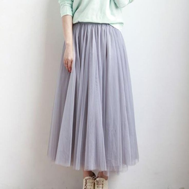 4 Layers Mesh Skirts 2017 New Summer Women Elastic High Waist Long Tulle Skirt Tutu Maxi Pleated Skirt Midi Faldas Saias AB202 <3 This is an AliExpress affiliate pin.  Item can be found  on AliExpress website by clicking the image