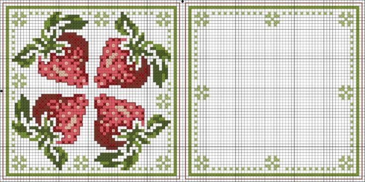 cuisine - kitchen - fraise - point de croix - cross stitch - Blog : http://broderiemimie44.canalblog.com/