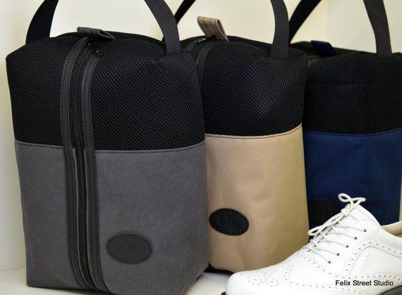 Canvas and Mesh Golf Shoe Bag by FelixStreetStudio on Etsy