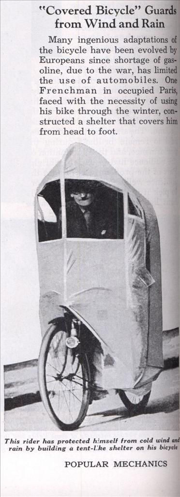 """""""Covered Bicycle"""" Guards from Wind and Rain   Modern Mechanix The ultimate cover!"""