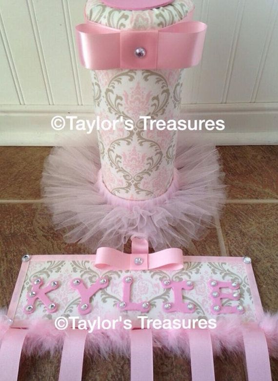Taylors Treasures - Hair Bow holder & Tutu Headband Holder Set - Matches Carousel Designs Pink and Taupe Damask on Etsy, $45.99