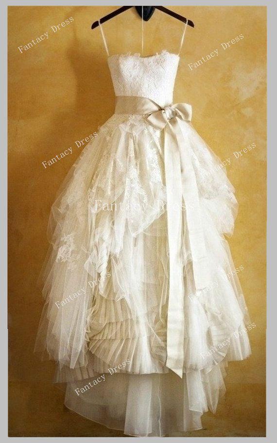 Custom Made Ball Gown Floor Length Lace Wedding Dresses, Lace wedding dress…