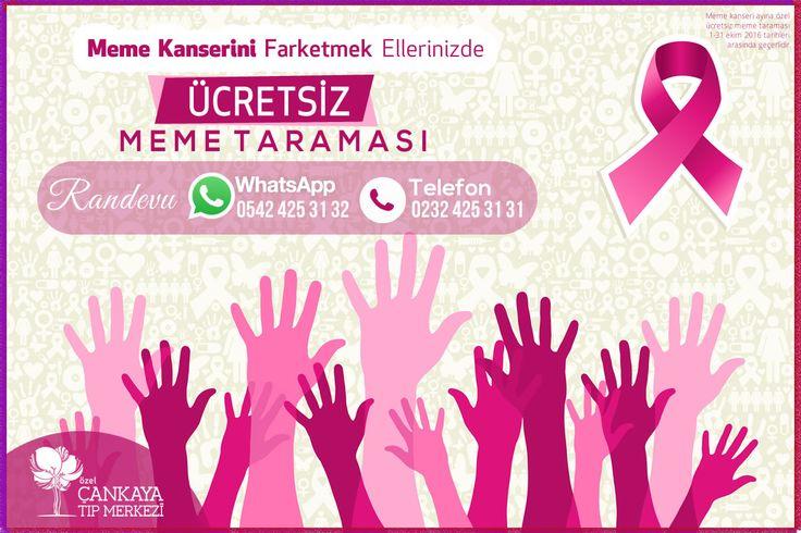 Özel Çankaya Tıp Merkezimizde 1-31 Ekim 2016 tarihleri arasında Sosyal Sorumluluk Projesi Kapsamında Ücretsiz Meme Taraması hizmeti verilmektedir. Meme kanserinde düzenli tarama için yılda en az bir kez mamografi ve check-up programına katılın.. Randevu ve İletişim: Telefon: 0 232 425 31 31 & WhatsApp: 0549 425 31 32 hasta iletişim birimimizden bizlere ulaşabilirsiniz.  Meme Kanseri Bilinçlendirme ve Farkındalık Ayına özel; Op.Dr. Şükrü ÖZBEK Doktorumuz Meme Kanseri hakkında bilgilendiriyor.