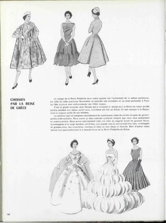 Μοντέλα του Jean Desses σχεδιασμένα το 1956 ειδικά για τη βασίλισσα Φρειδερίκη. L'OFFICIEL DE LA MODE n°411-412 de 1956 / Page 182