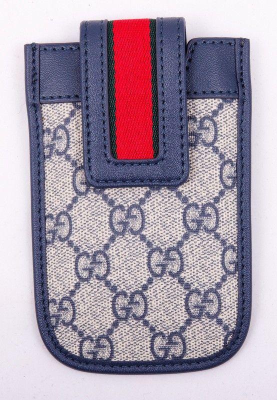 Чехол для iPhone 4/4S Gucci (Гуччи) кожаный, серого цвета. Внутренний размер 11.5x6cm #19536 !! Распродажа модели !! Модель со скидкой !!