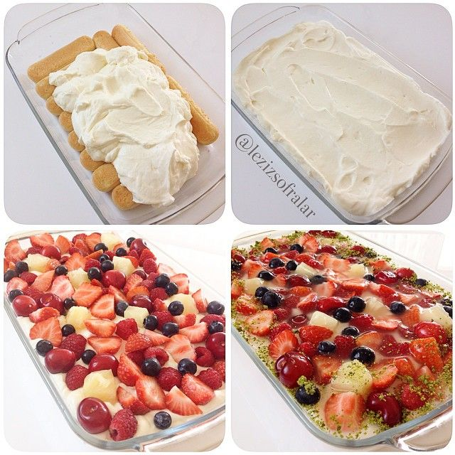 Kolay Tepsi Pastasi Malzemeler: 1 paket kedidili bisküvisi 1 su bardagi süt Kremasi icin: 2 paket sivi krema(400 gr) Iki paket krema sertlestirici (bulamayanlar kremsanti tozu ekleyebilirler 2 tatli kasigi kadar) 200 gr quark(süzme yogurt veya labne ) 2 yemek kasigi pudra sekeri Ayrica: Karisik meyve (cilek,ananas,muz,kivi,ahududu vs..) Üzerine isterseniz tart jölesi Süslemek icin antep fistigi Yapilisi:Kedidili bisküviler süte bandirilip tepsiye araliksiz dizilir,kremasi icin soguk krem...
