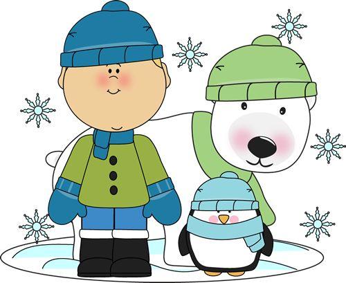Boy with Penguin and Polar Bear | Christmas Clip Art ...