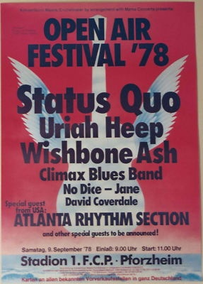 STATUS QUO URIAH HEEP WISHBONE ASH JANE DAVID COVERDALE CONCERT TOUR POSTER 1978 | eBay