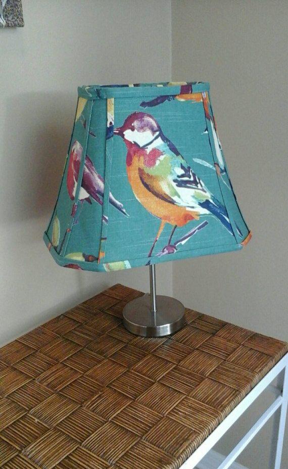 Bird lamp shade: hand sewn teal Richloom Birdwatcher  fabric lamp shade