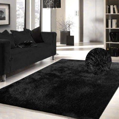 hand tufted solid black shag rug 5u0027 x 7u0027 polyester area rug