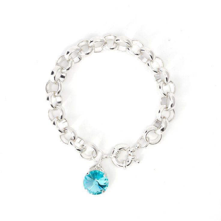 Chunk Bracelet with Swarovski Crystal Disc Charm