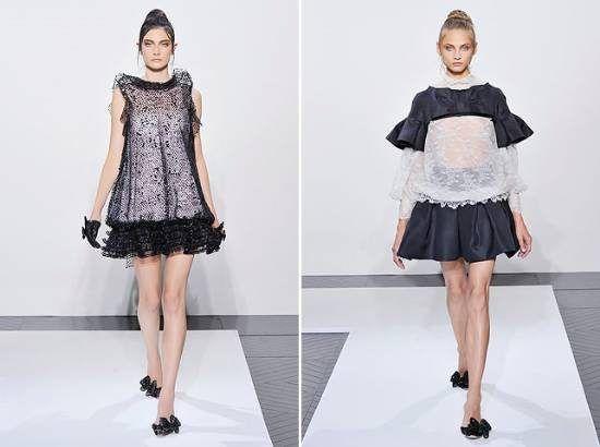 Na passarela da Valentino para o inverno 2010 2011, saias curtas, cinturas rebaixadas, baby dolls e saltos médios. O humor da coleção d