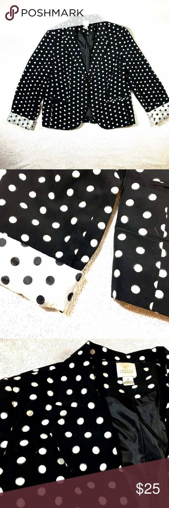 LC Black and White Polka Dot Blazer Cotton, light-spring, summer fabu all the way. I know the Kardashians are known for their Blazer wearing, but for real-Lauren Conrad is the blazer Queen 👸 This one is just too cute. White on the inside-for rolling those sleeves to pop some sass. LC Lauren Conrad Jackets & Coats