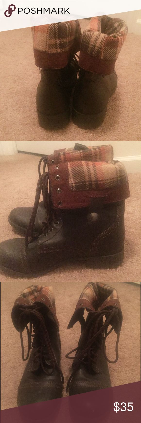 Combat boots Combat boots - fold over or lace them all the way up. Good condition, worn a few times. Dark brown Shoes Combat & Moto Boots