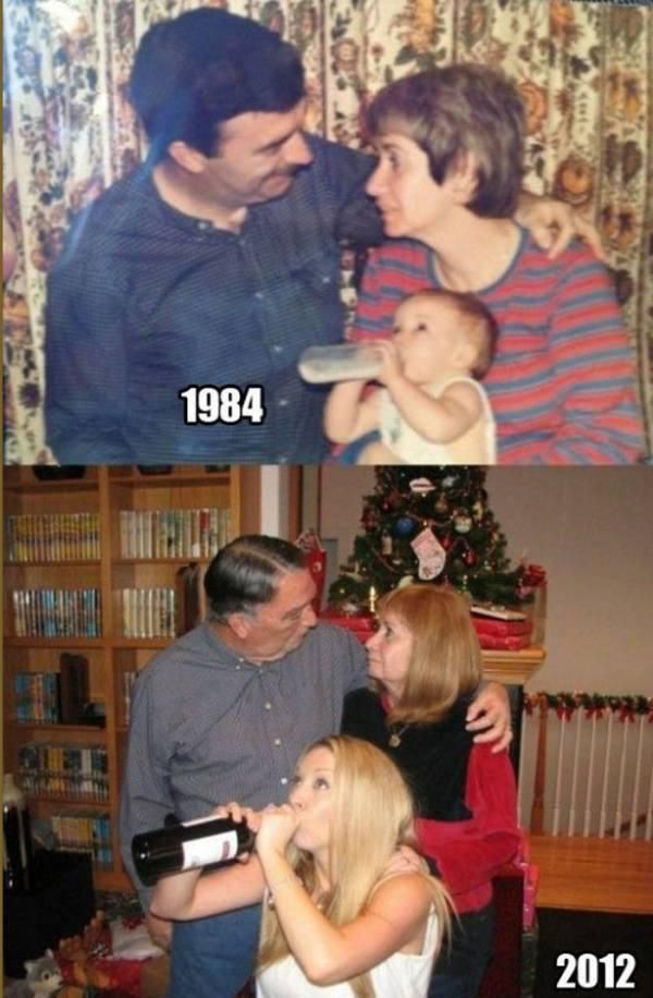 Family retakes childhood photographs - Humor on theBERRY