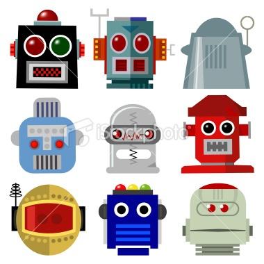 Robot Head Icons Royalty Free Stock Vector Art Illustration