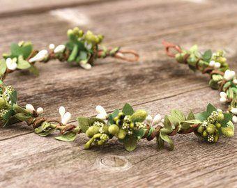 Völlig Blatt Haar Kranz Garten Hochzeit Blume Krone Moosgrün grün Kunstseide Blätter Girlande Blume Krone Blatt