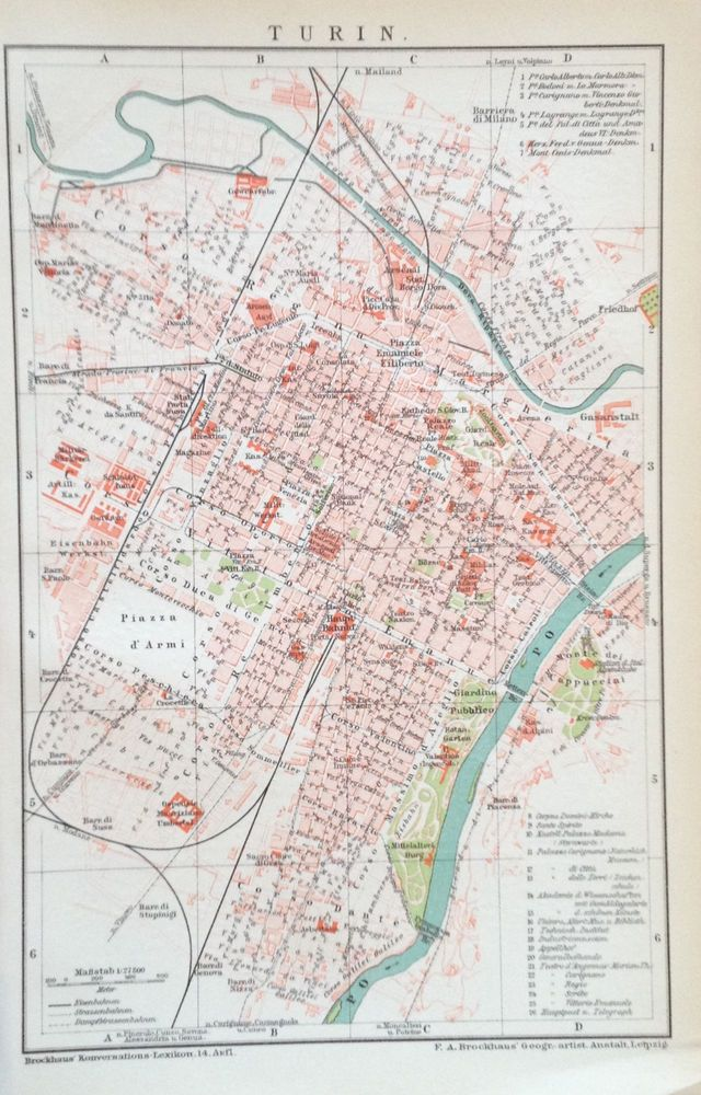 1897 Turin Alter Stadtplan Antique City Map Lithographie Italien