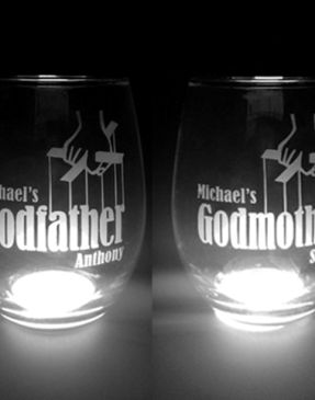 Personalized godparent wine glass set.  Great for first communion, baptism favors, godmothers & godfathers!