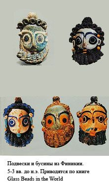 Phoenician glass beads of bearded men's heads, probably 5 or 4 century BCE (the Russian says: Pendants and beads from the book Glass Beads of the World)