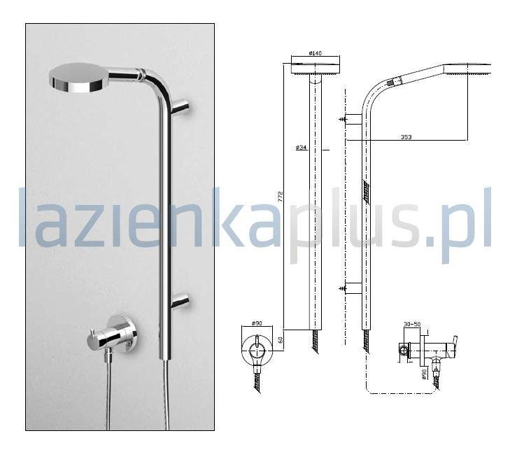 - bateria podtynkowa- z wyjściem zewnętrznym 1/2- chrom - wyposażenie łazienki - Lazienkaplus.pl