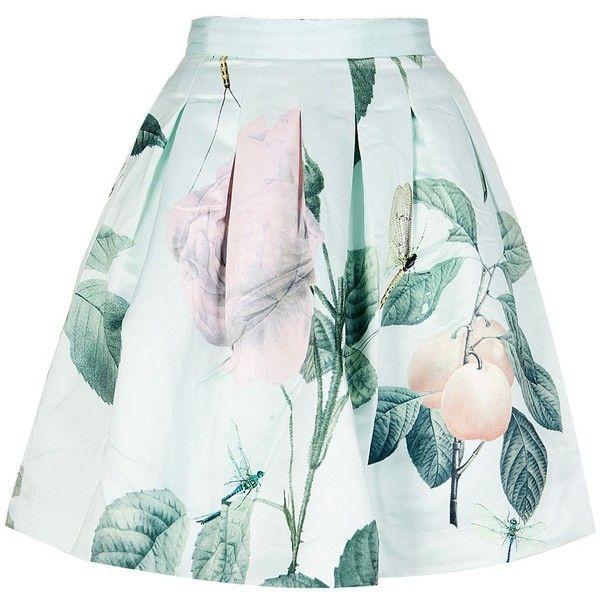 Ted Baker Maari Rose Printed Pleated Skirt ($105) ❤ liked on Polyvore featuring skirts, ted baker, rose skirt, zipper skirt, pleated skirt and white knee length skirt
