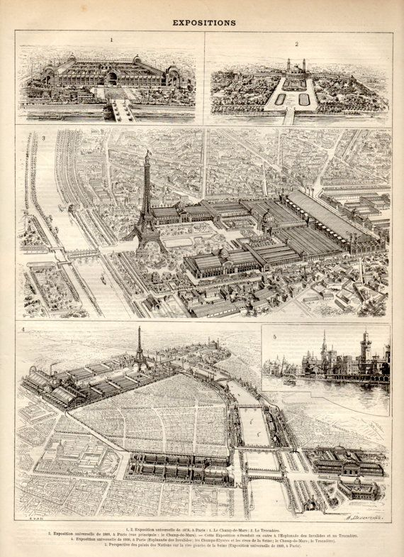 Universal Exposition 1897 Antique Print Vintage by Craftissimo, €12.00