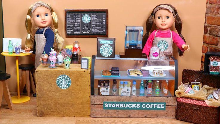 Doll Coffee Shop setup with Unicorn Frappuccino & coffee maker! Dolls ma...