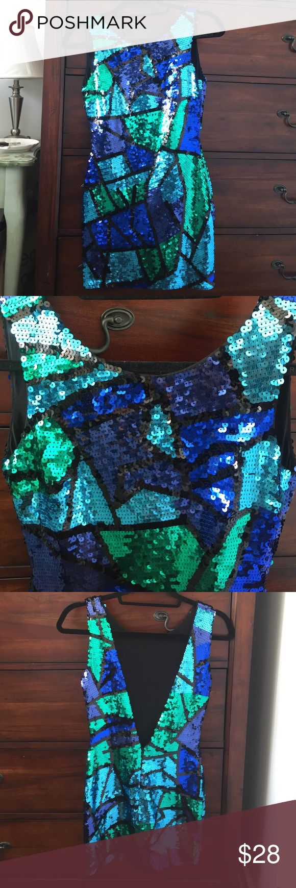 Asos Petite sequin dress Asos Petite blue, green and black sequin dress with low back. Never worn. ASOS Petite Dresses Mini