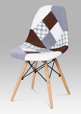 CT-725 PW2  Moderní židle v žádaném provedení patchwork, nohy jsou z lakovaného masivního bukového dřeva v přírodním odstínu. Tyto židle budou skvělým designovým doplňkem. Nosnost této židle je do 110 kg.