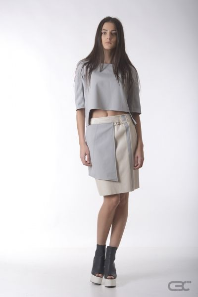 Crepe Black Collar grey warm top and cream leather skirt with grey accessory. Check out the online shop for details.