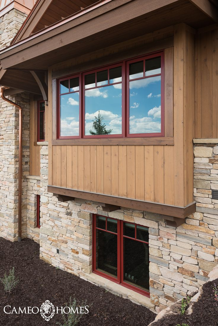 Beautiful Home Exterior Combination Red Windows Wood Siding And Stone Park City