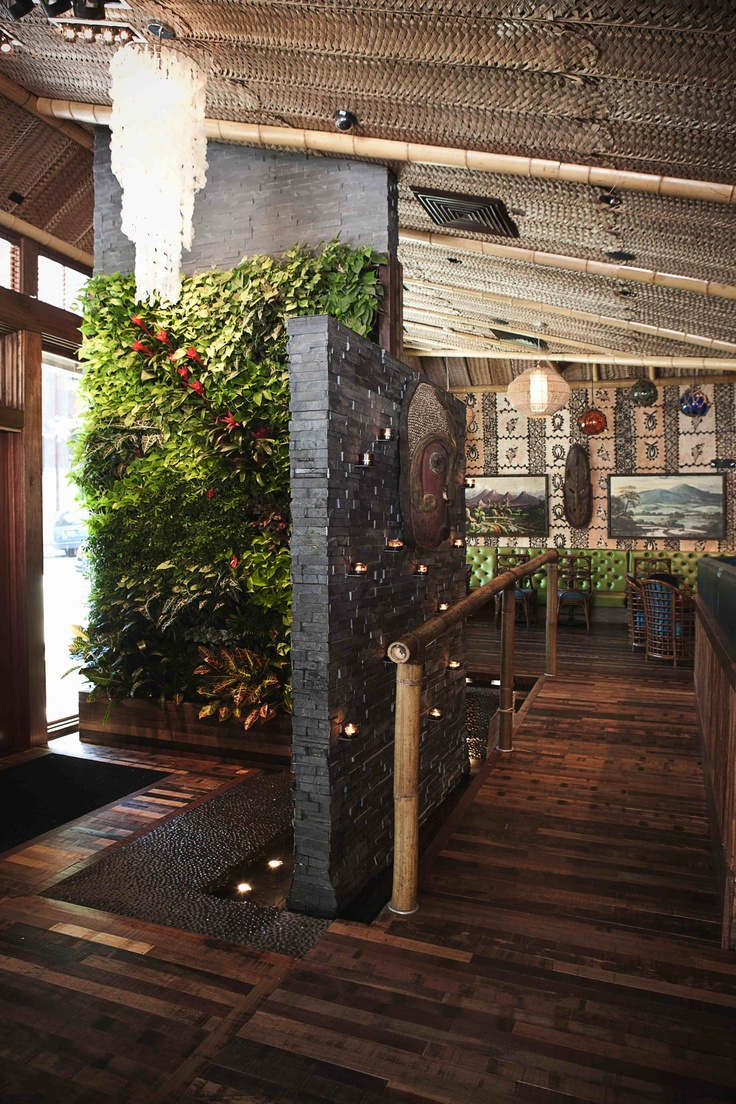 Beautiful Living Plant Wall invites you into your favorite Tiki bar, Trader Vics designed by www.vanillawood.com