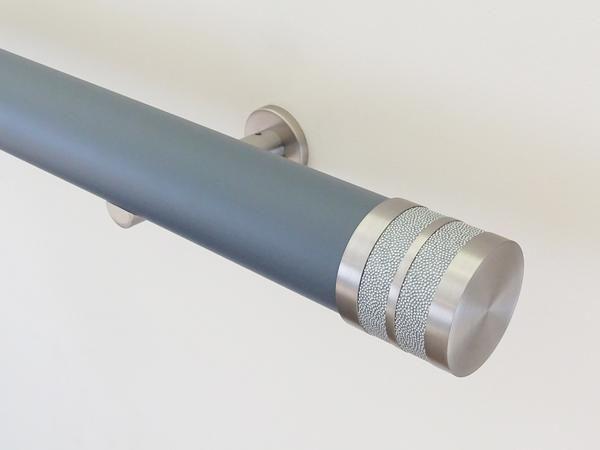 50mm diameter matt lead wooden curtain pole with  moonlight Bobbin finials
