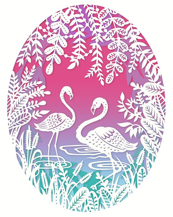 This is an 8x10 archival quality fine art print of my original papercut illustration, Flamingos. The design template is featured in the new Paper Panda & Friends Book which has been published by Search Press in November 2016.  The piece was cut from a single sheet of paper using an x-acto knife. The papercut was then scanned into the computer and color was added to make this final print!  The last 2 photos show the progress from beginning drawing to finished papercut! (Please note, this l...