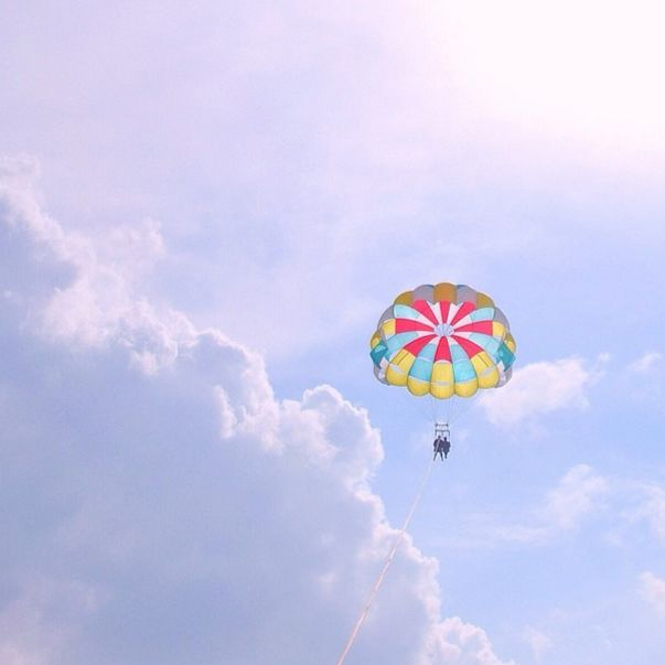 Parasailing during vacation in Hilton Head Island, South Carolina.
