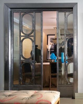 Metal fretwork sliding door