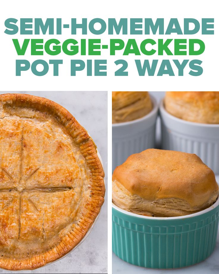 Will use soy curls instead Semi-Homemade Veggie-Packed Pot Pie 2 Ways Recipe by Tasty