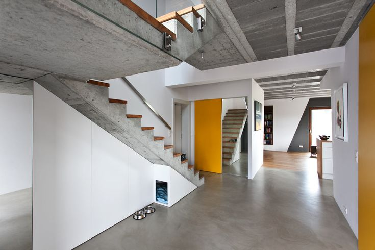 Cool Gray Meets Happy Yellow in This Angular Interior