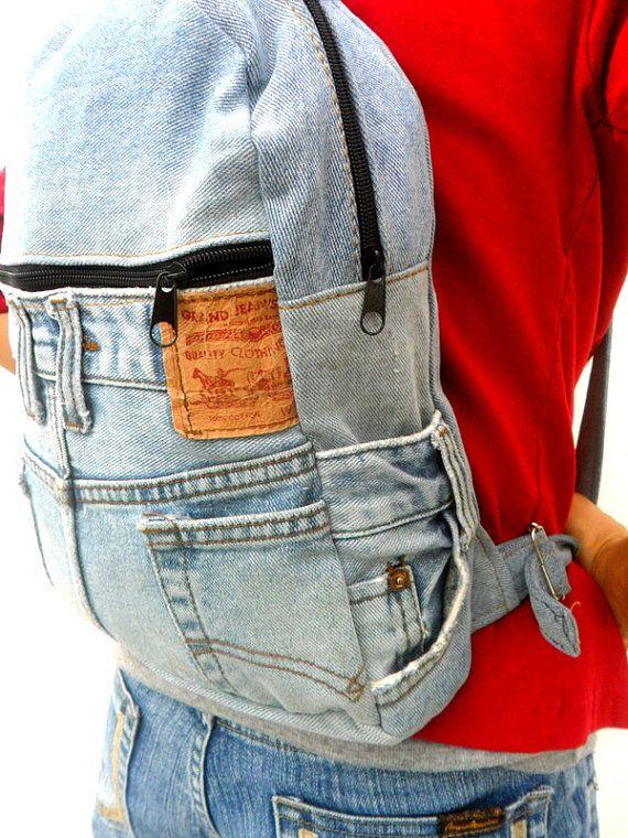 LEVIS jeans mochila denim reciclado jean bolsa mochila mochila by Avivahandmade | Etsy