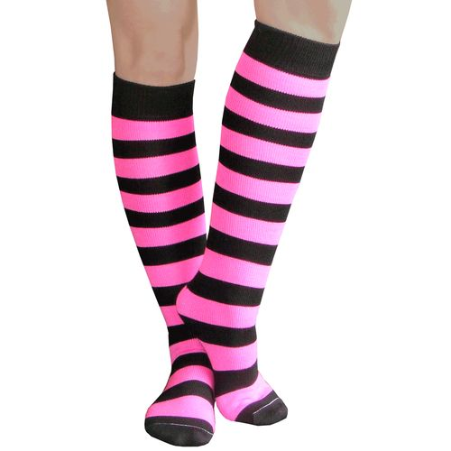 Bright neon pink and black bumblebee striped knee high socks. Choose from 60+ Styles. Chrissy's Socks 877-862-6267