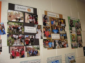 photographing class adventures by each month and display in the hallway for others to see!