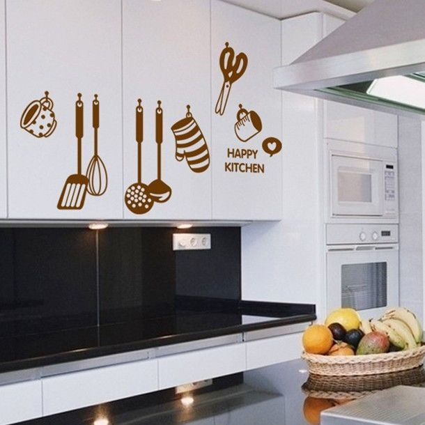 Elegant Free Shipping DIY Removable Wall Stickers Restaurant /kitchen /utensils/  Refrigerator Sticker Kitchen Wall Part 7