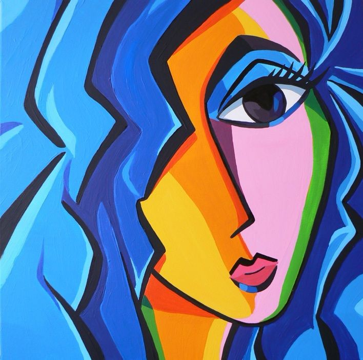 Abstract female portrait, made by Marcel Burger. Acrylics on 3D canvas
