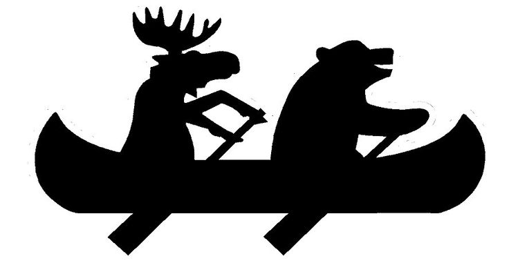 Bear and Moose in a canoe silhouette